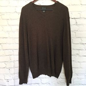 Jos A Bank Brown Cashmere V Neck Sweater L